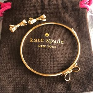 Kate Spade matching gold Bow earrings and bracelet